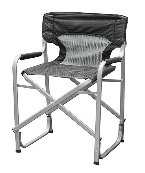 """Кресло складное портативное Time Eco """"Режиссерское алюминий"""", стул туристический раскладной, Серый"""