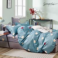 Комплект постельного белья Bella Villa сатин Евро сине-зеленый