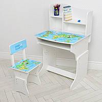 Детская регулируемая парта школьная со стулом 904-110 белая / рисунок Карта мира**