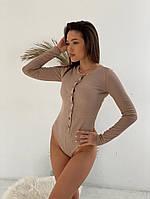 Женское стильное боди с длинным рукавом на пуговицах, фото 1