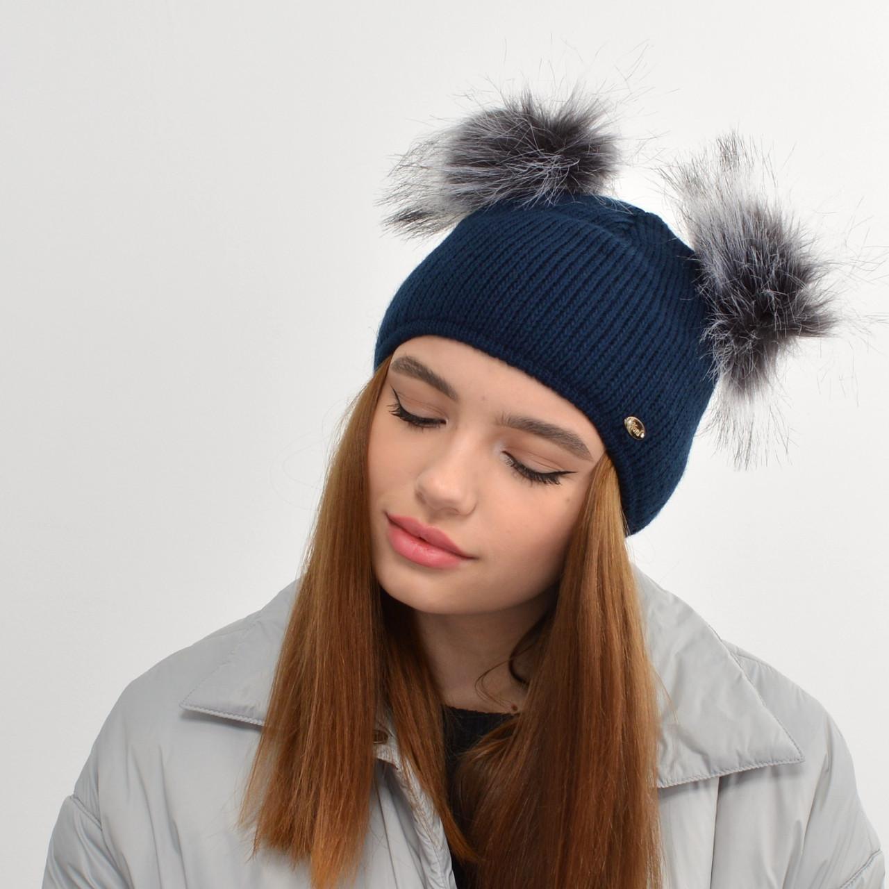 """Жіноча шапка з 2 помпонами """"Дора"""" Синій"""