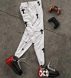 Мужские брюки весна-осень лето штаны-спортивки белые Турция. Живое фото
