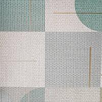 Шпалери вінілові на флізелін Sirpi AltaGamma Home 3 геометричні фігури 3д бірюзові, зелені, сірі, фото 1