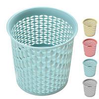 Кругла плетені підставка для олівців та пензликів Canna 10х11см, пластик, цілий контейнер для кистей,