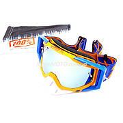 Очки кроссовые со сменным стеклом, + защитная пленка , оранжево-сине-белые (зеркальное стекло) 100%