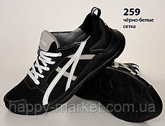 Шкіряні кросівки Asics (репліка) зі вставками сітки (259 чорно-сіро-біла)