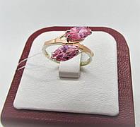 """Серебряное кольцо с золотом с розовыми камнями """"Маркиз"""", фото 1"""