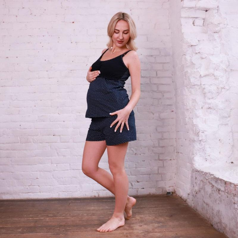 Пижама для беременных и кормящих мам (шорты + майка) синий