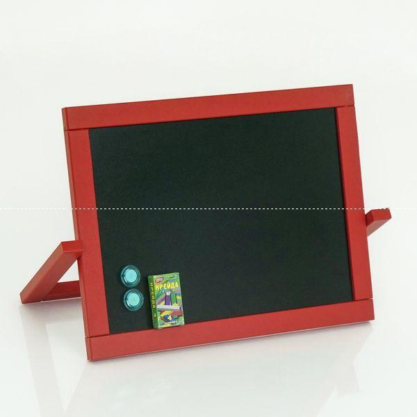 Гр Мольберт настольный ПВХ М 064 двухсторонний магнитный + мелки, цвет красный (1) размер доски 450*335мм.