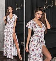 Шикарне літнє плаття в підлогу молочне з імітацією запаху ТК/-62176