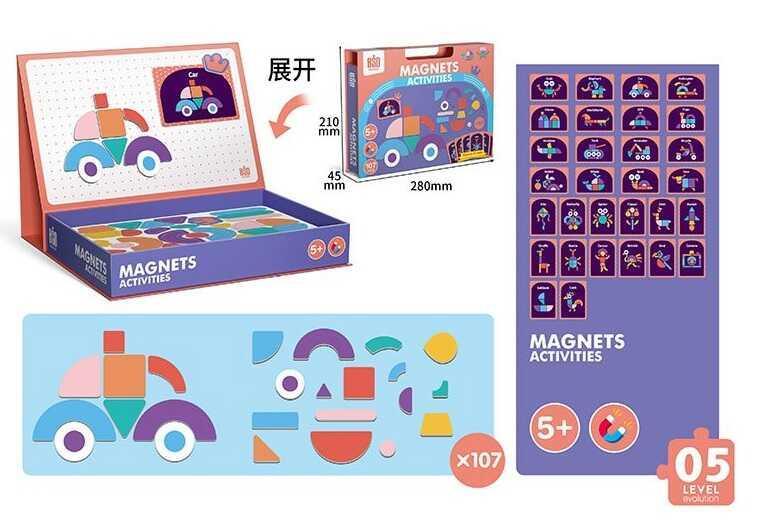 Магнитная досточка 2052 (20) 107 элементов, 30 карточек, в коробке