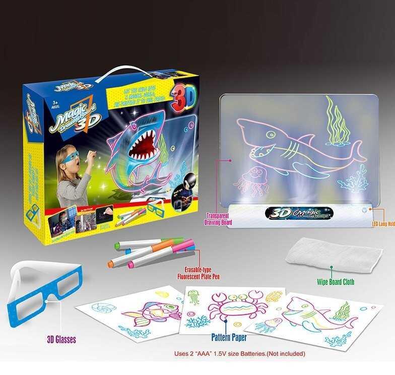 Проекционная 3D доска YM 381/382/383 (72/3) 3 вида, свет, в коробке