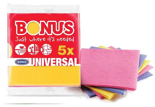 Універсальні серветки для прибирання віскозні Bonus B170 Універсальний Cloth 5шт, фото 2
