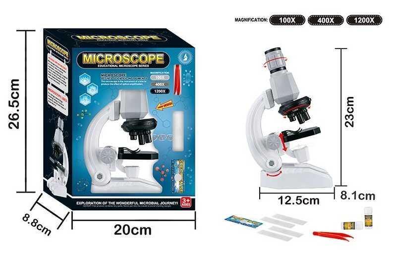 Мікроскоп 2510 (48/2) світло, аксесуари, на батарейках в коробці
