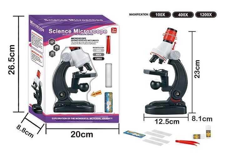 Мікроскоп 2511 (48/2) світло, аксесуари, на батарейках в коробці