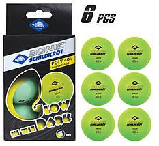 М'ячі для настільного тенісу Donic Glow in the dark 40+, 6 шт, зелені, фото 2