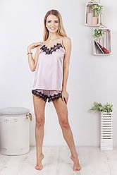 Комплект (піжама) жіночий шовковий для дому та сну: майка + шорти DIVA SH-167coffee