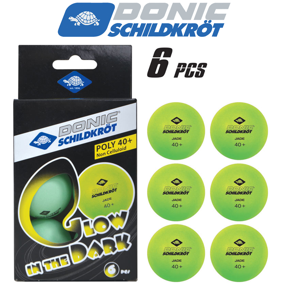 М'ячі для настільного тенісу Donic Glow in the dark 40+, 6 шт, зелені
