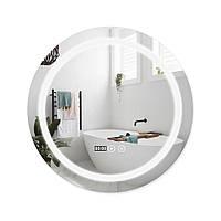 Зеркало для ванной круглое с антизапотеванием 600х600 LED подсветка Qtap Mideya DC-F803