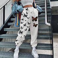 Женские стильные штаны джоггеры с бабочками, фото 1