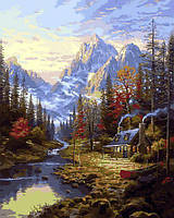 Картины по номерам 40×50 см Mariposa Рыбалка в горах Томаса Кинкейда (Q 2249)
