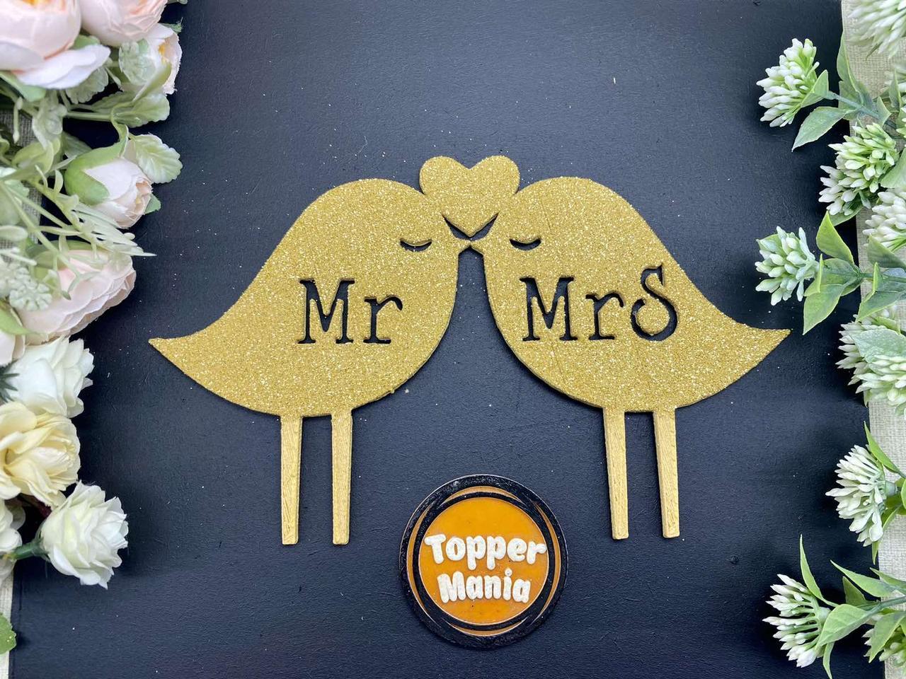 Топпер Mr&Mrs пташки Топпер на весільний торт Топпер MrMrs в блискітках Золотий весільний топпер