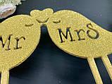 Топпер Mr&Mrs пташки Топпер на весільний торт Топпер MrMrs в блискітках Золотий весільний топпер, фото 3