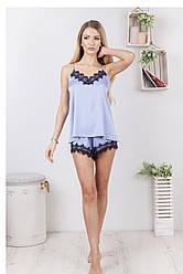 Комплект (пижама) женский шелковый для дома и сна: майка + шорты DIVA SH-167skyblue   1 шт.