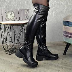 Ботфорты женские кожаные на широком каблуке, цвет черный. 39 размер
