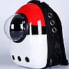 Рюкзак-переноска с иллюминатором для переноски животных SpaceX Red White  42-32-29 см
