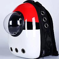 Рюкзак-переноска з ілюмінатором для перенесення тварин SpaceX Red White 42-32-29 см, фото 1