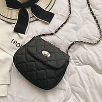 Стеганая сумка кросс боди черная через плечо