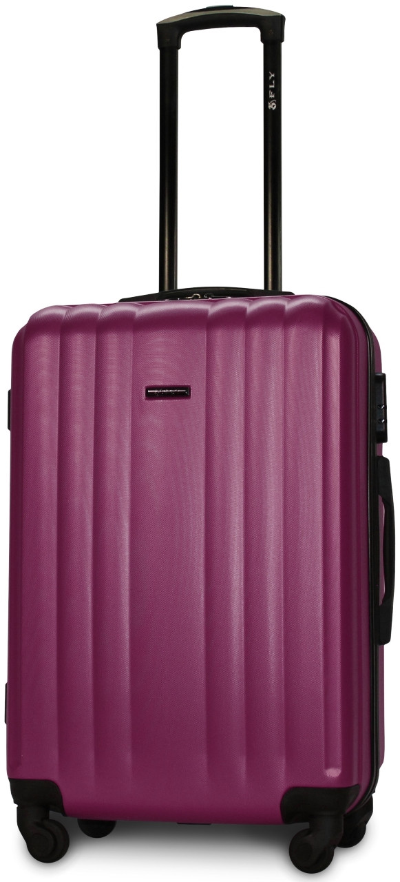 Валіза пластикова на 4х колесах середня  M темно-фіолетова | 25х65х42 см | 3.150 кг | 62 л | FLY 614