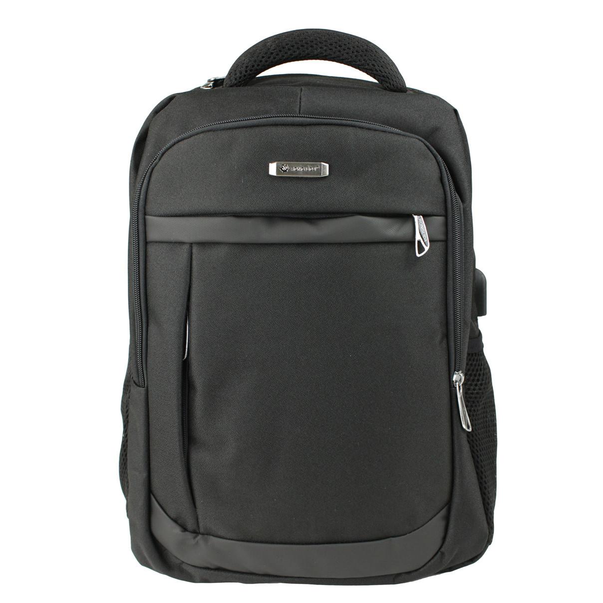Рюкзак городской деловой повседневный тканевый Medium с отделением под ноутбук черный