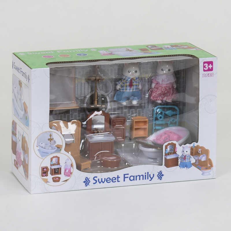 """Набор мебели для ванной комнаты 1604 F """"Счастливая семья"""" (12) 2 персонажа, в коробке"""