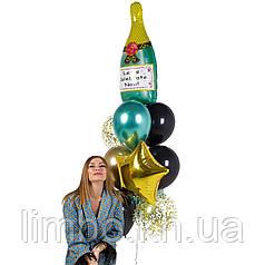 Шары подруге на день рождения с фольгированной фигурой Шампанское