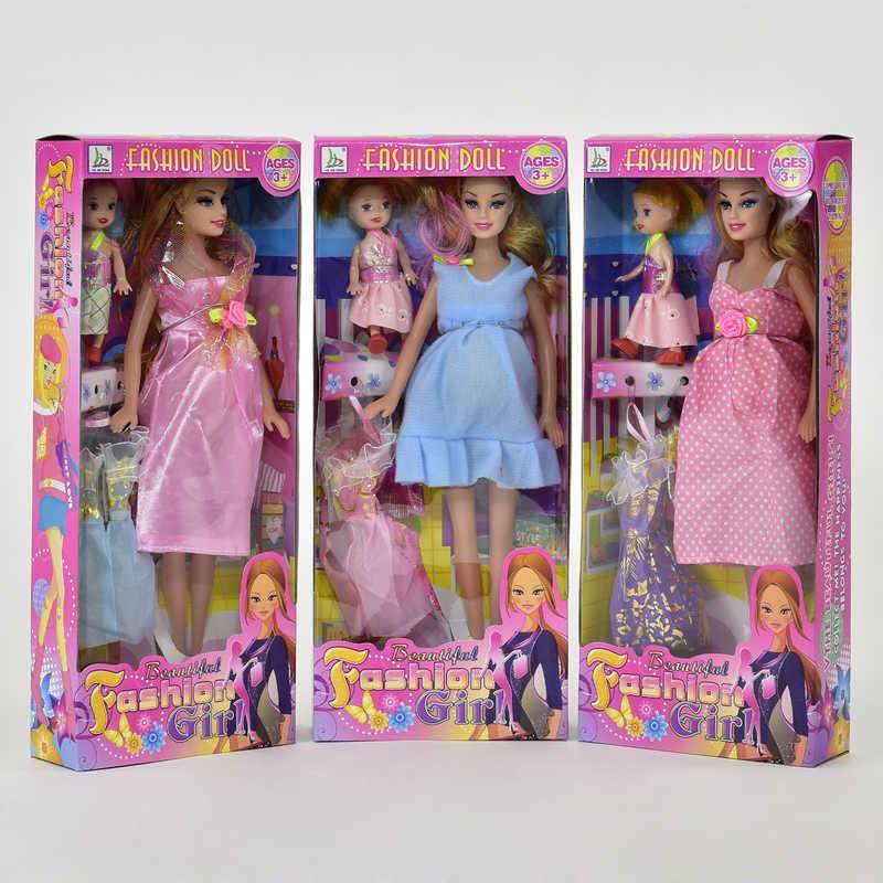 """Кукла 2009 D (72/2) """"Беременная"""", 3 вида, ребенок, платье, в коробке"""