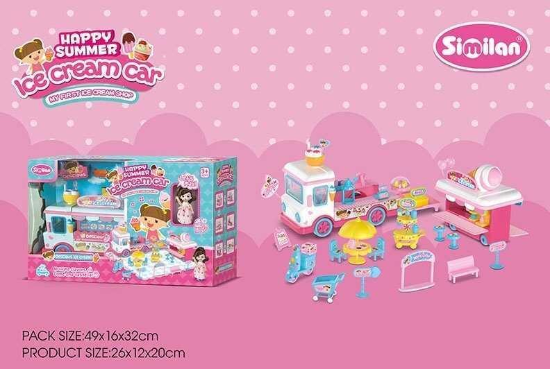Автобус QL 065 (12/2) кукла, съемный прилавок, аксессуары, в коробке