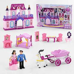 Будиночок 16338 З (6) 2 міні ляльки, карета з конем, меблі, в коробці
