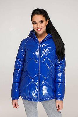 Демісезонна стьобана куртка кольору електрик