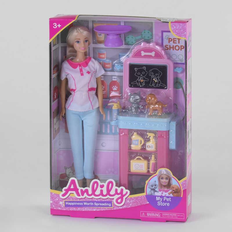 """Кукла 99260 (36/2) """"Ветеринар"""", 2 питомца, стойка, аксессуары, в коробке"""