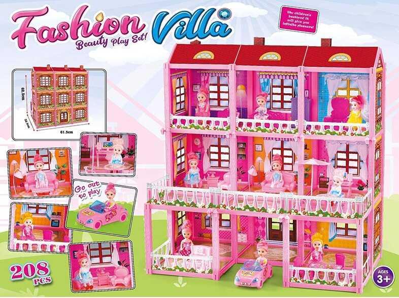 Будиночок 957 (10) 208 деталей, лялька, машинка, меблі, в коробці