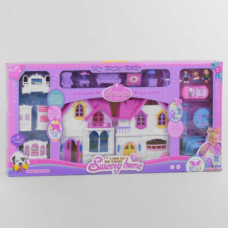 Будиночок WD 921 C (8) світло, звук, 3 ігрові фігурки, меблі, машинка, гірка з гойдалкою, в коробці