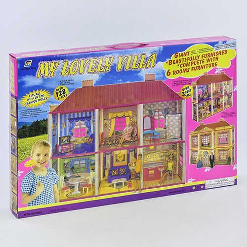 Домик для кукол 6983 (6) 2 этажа, 6 комнат, 128 деталей, в коробке