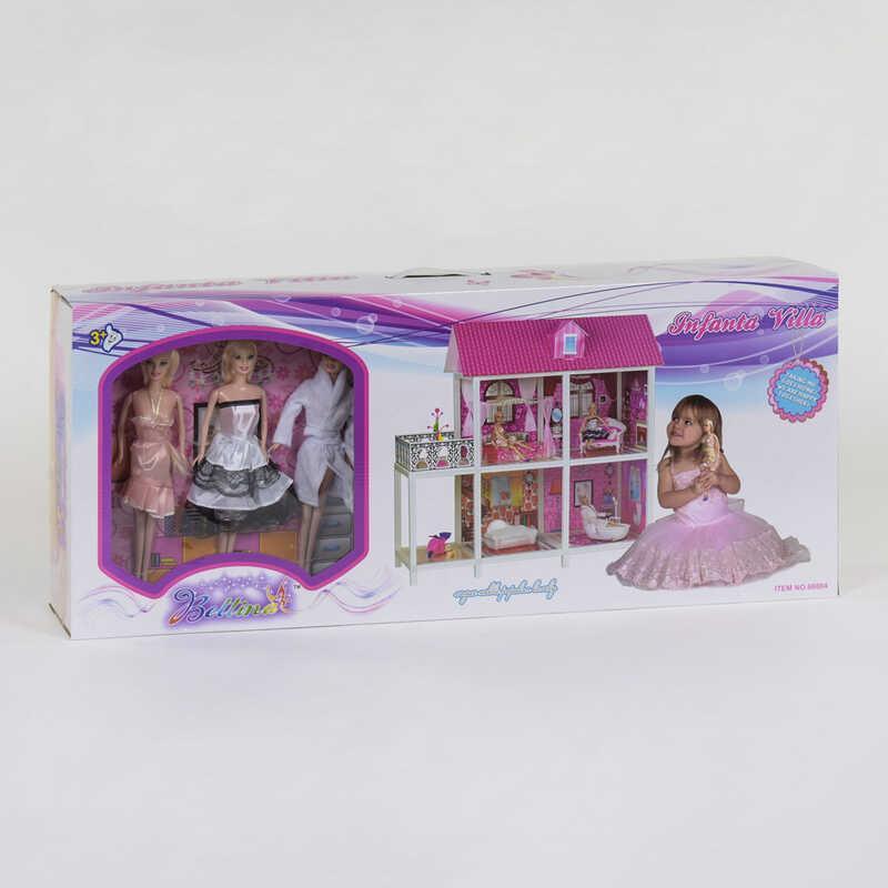Ляльковий будиночок 66884 (3) 2 поверхи, 3 ляльки, в коробці