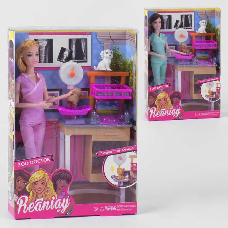 "Кукла CS 699-28 (60/2) ""Ветеринар"", 2 вида, 2 питомца, мебель, в коробке"