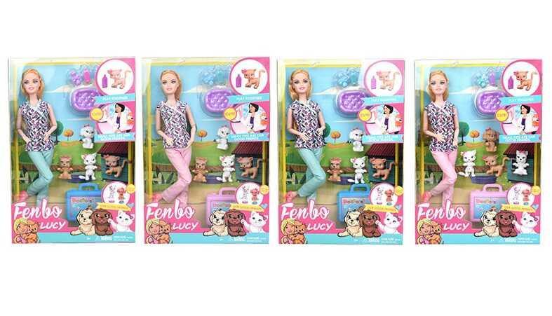 """Кукла FB 074 (60/2) """"Ветеринарная клиника"""", 2 вида, 4 питомца, аксессуары,  в коробке"""