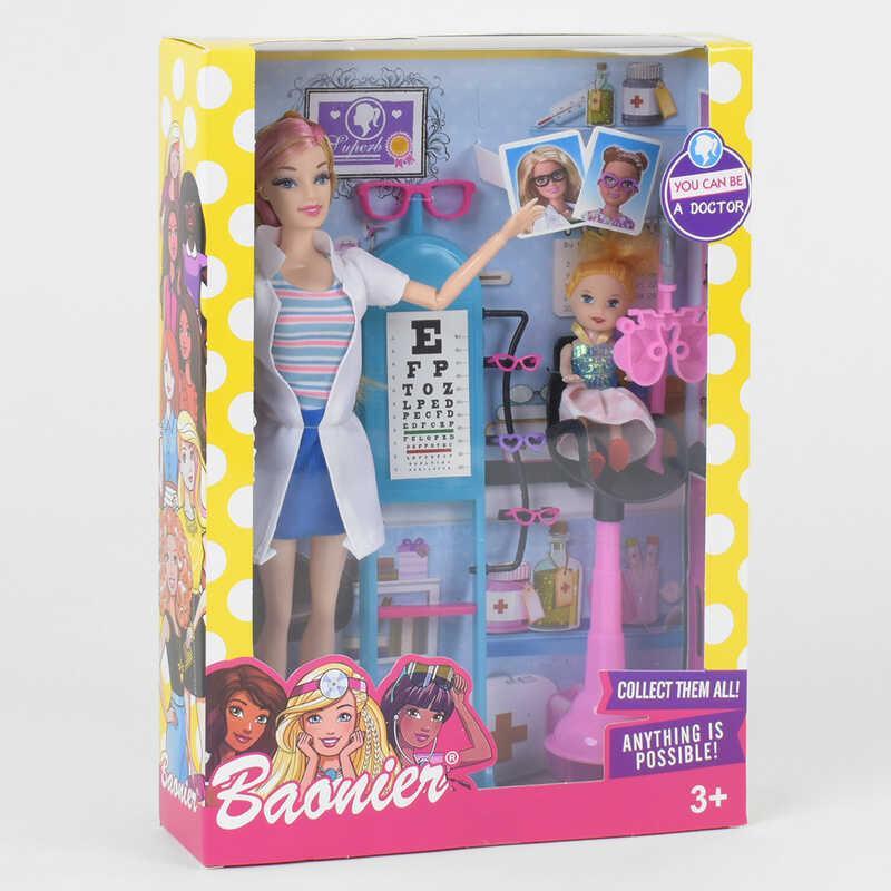 Кукла JJ 8686 (72/2) «Врач», ребенок, стойка для проверки зрения, аксессуары, в коробке