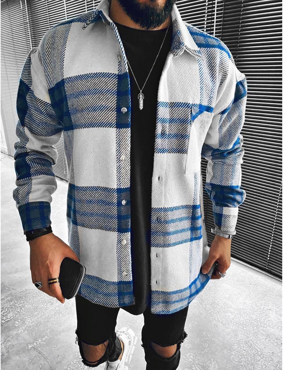 Чоловіча байкова біло-синя сорочка в клітинку