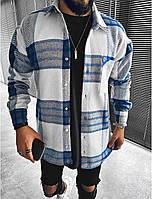 Мужская байковая рубашка бело-синяя в клетку, фото 1